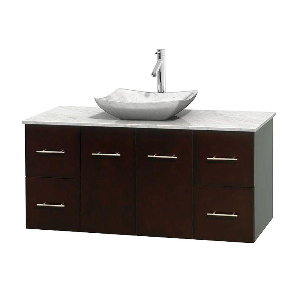 Wyndham Collection Centra 48 in. Vanity in Espresso with Marble Vanity Top in Carrara White and Sink