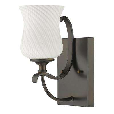 Evelyn 1-Light Oil-Rubbed Bronze Sconce with Optic-Art Glass Shade