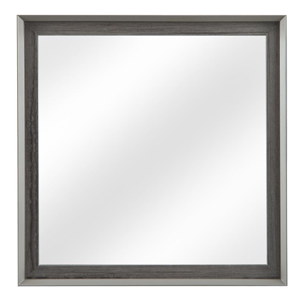 Garivaldi 32 in. W x 32 in. H Single Framed Wall Mirror in Grey Oak
