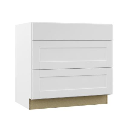 Shaker Assembled 36x34.5x24 in. Pots and Pans Drawer Base Kitchen Cabinet in Satin White