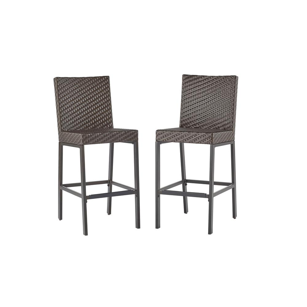 Hampton Bay Rehoboth Dark Brown Wicker Outdoor Bar Stool (2-Pack ...