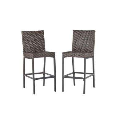 Rehoboth Dark Brown Wicker Outdoor Bar Stool (2-Pack)