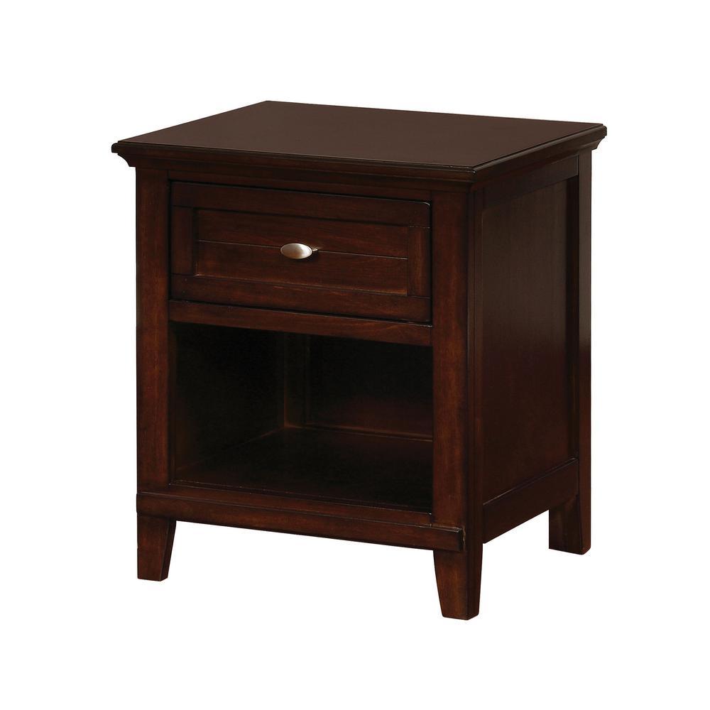 Furniture of America Nina 1-Shelf Brown Cherry Nightstand