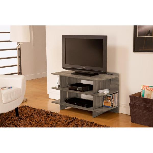 "Crestlive Products Wood 65/"" TV Stand Living Room Storage Shelves Large Entertainment Center Television Cabinet with 2 Center Compartments and 2 Cabinets Black /& Gray"