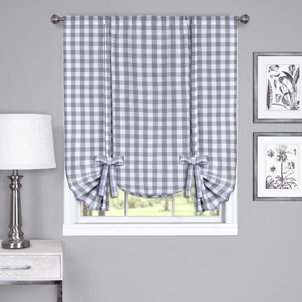 Achim 42 in. W x 63 in. L Buffalo Grey Cotton Tie Up Shade Curtain