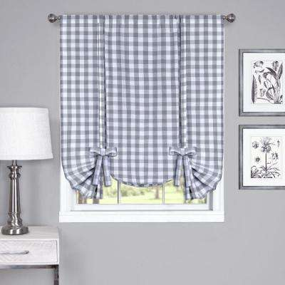 42 in . W x 63 in. L Grey Horizontal  Fabric Roman Shade