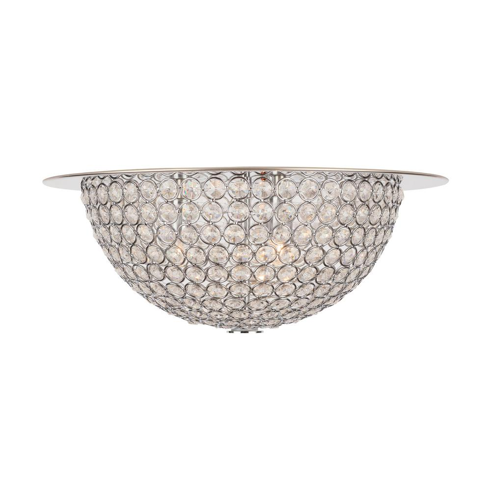 Home Decorators Collection 15 in. 3-Light Mirrored Stainless Steel Flush Mount with Clear Crystal Accents in Metal Rings