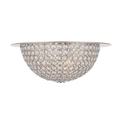 Mosby 15 in. 3-Light Mirrored Stainless Steel Flush Mount with Clear Crystal Accents