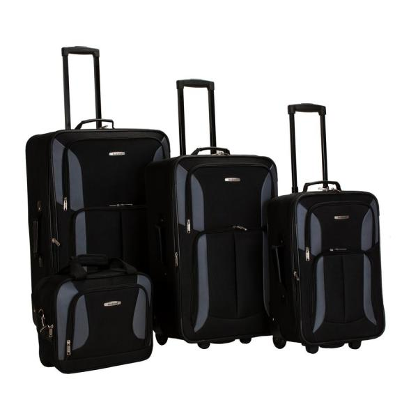 Rockland Rockland Sydney Collection Expandable 4-Piece Softside Luggage Set, Black/Gray
