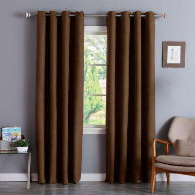 84 In. L Chocolate Suede Blackout Curtain (2 Pack)