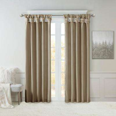 Natalie Pewter 50 in. x 95 in. Twist Tab Lined Window Curtain