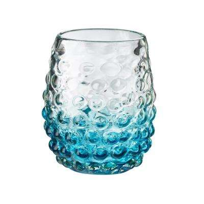 Catalina 12 oz. 4-Piece Aqua Glass Ombre Hobnail Double Old-Fashioned Drinkware Set