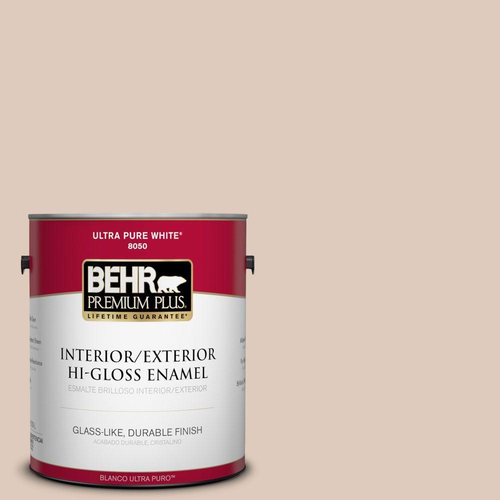 BEHR Premium Plus 1-gal. #250E-2 Pebbled Courtyard Hi-Gloss Enamel Interior/Exterior Paint