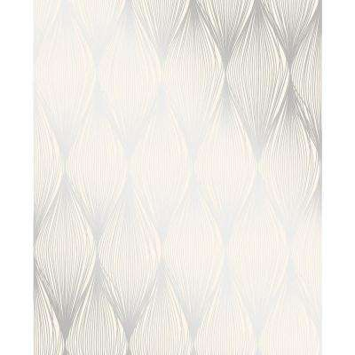 Gleam Silver Linear Ogee Wallpaper Sample