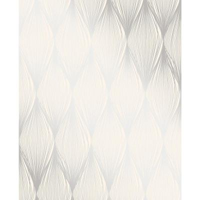 Gleam Silver Linear Ogee Wallpaper