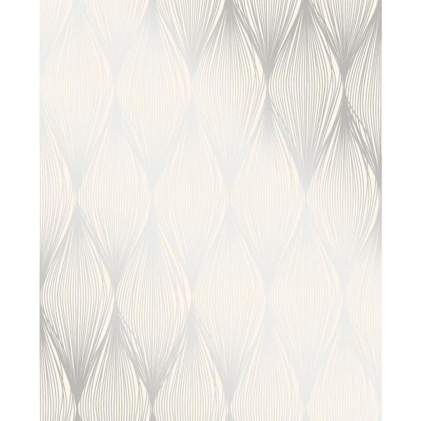 Gleam Silver Linear Ogee Paper Strippable Roll Wallpaper (Covers 56.4 sq. ft.)