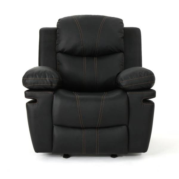Noble House Evelyna Classic Black Leather Gliding Recliner 304388