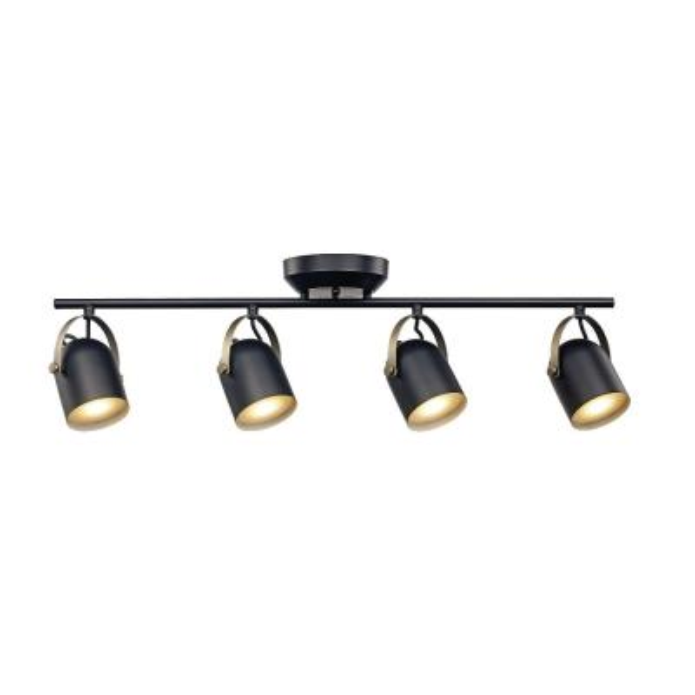 2.6 ft. Black and Antique Brass Integrated LED Track Light Kit