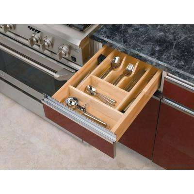 2.38 in. H x 14.62 in. W x 22 in. D Small Wood Cutlery Drawer Insert