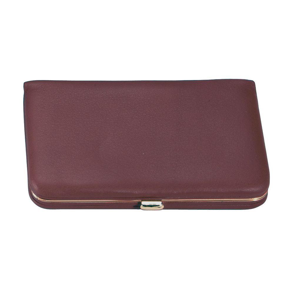 Genuine Leather Framed Business Card Case Wallet, Burgundy