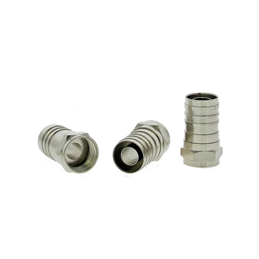 Ideal RG-6 Quad Crimp F-Connectors (3-Packs of 10) Nickel plated brass crimp sleeve connectors are designed for indoor coax terminations for standard video and other RF applications. Connectors require crimping with a hex crimp tool to secure the connector to the cable. Accepts RG-6 Quad coax cables.