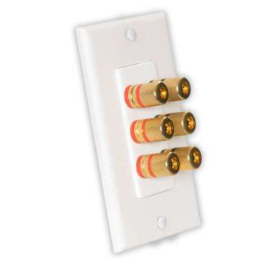 Home Theater Speaker Wire Wall Plate 3 Speaker 6 Posts