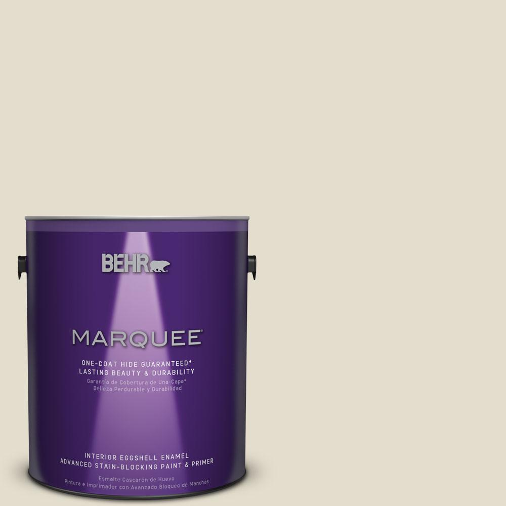 BEHR MARQUEE 1 gal. #MQ3-40 Varnished Ivory Eggshell Enamel One-Coat Hide Interior Paint and Primer in One