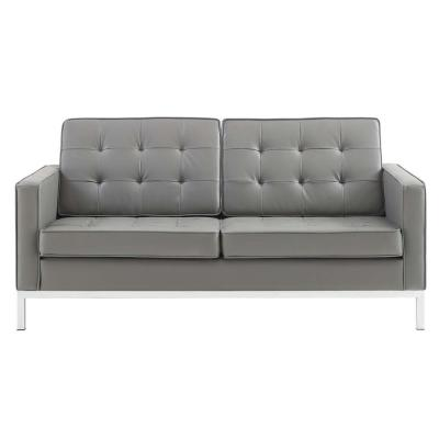 Loft 63 in. Gray Button Tufted Faux Leather 2-Seater Loveseat with Square Arms