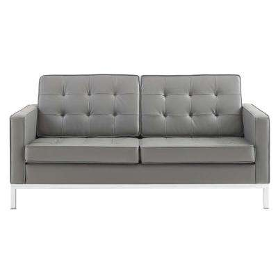 Loft Silver Gray Tufted Button Upholstered Faux Leather Loveseat