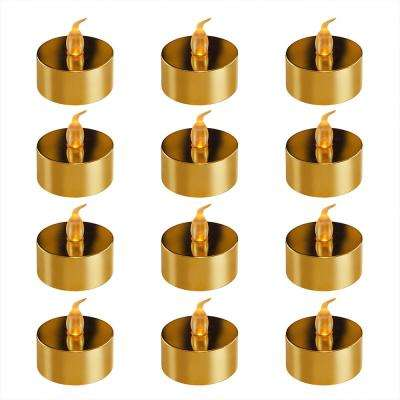 Battery Operated Gold Plated LED Tea Lights (12-Count)