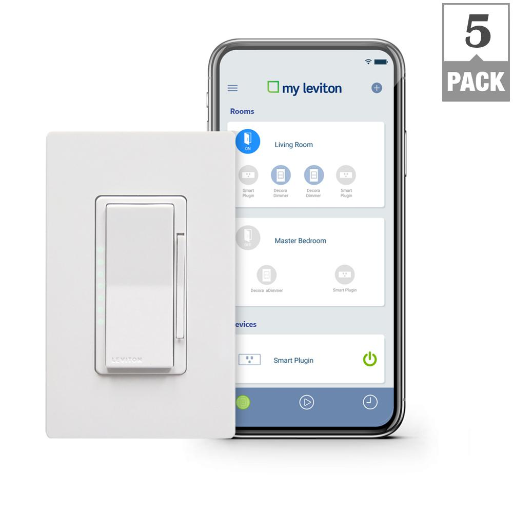 Leviton Decora Smart Wi-Fi 600W Incandescent/300W LED Dimmer, No Hub Required, Works with Alexa, Google Assistant (5-Pack)