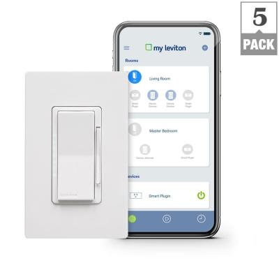 Decora Smart Wi-Fi 600W Incandescent/300W LED Dimmer, No Hub Required, Works with Alexa, Google Assistant (5-Pack)