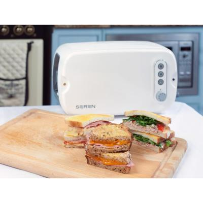 3-Slice White Seren Wide Slot Toaster with Crumb Tray