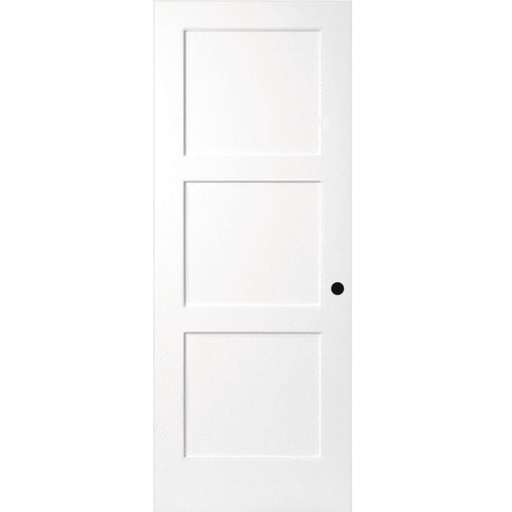 30 in. x 80 in. 3-Panel Equal Shaker White Primed Solid