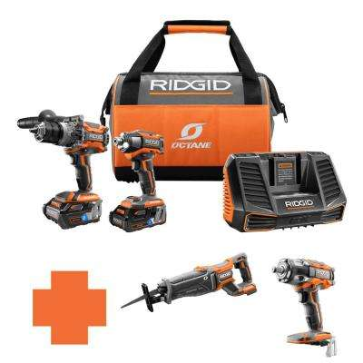 18-Volt OCTANE Lithium-Ion Cordless Brushless Combo Kit w/Bonus Brushless Recip Saw & 1/2 in. Impact Wrench