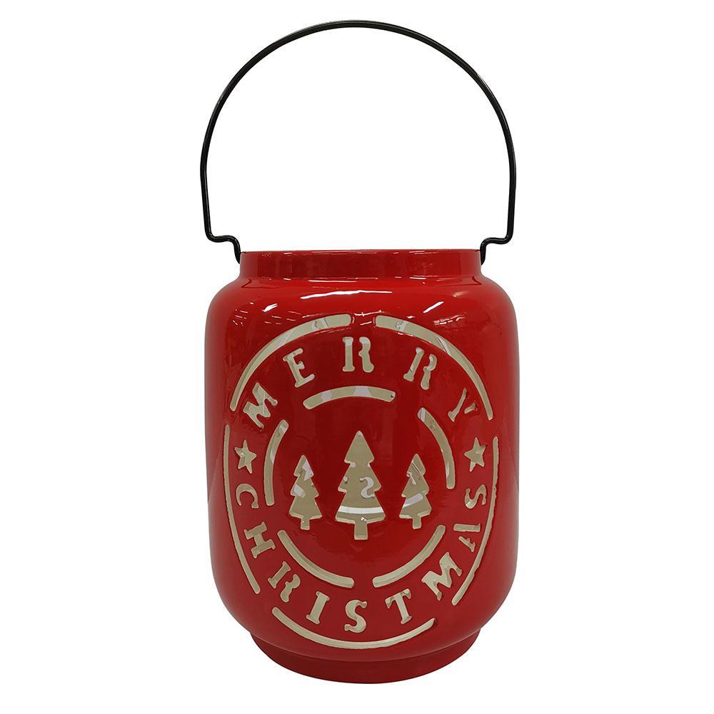 8 in. Red Ashford Meadows Christmas Tree Luminary