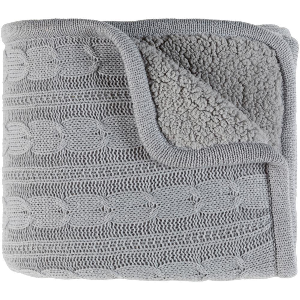 Shae Light Gray Polyester Blend Throw