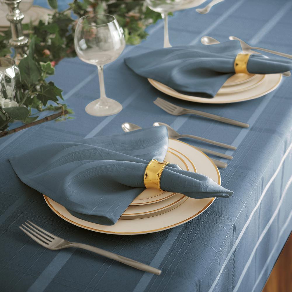17 in. W x 17 in. L Elrene Elegance Plaid Damask Blue Shadow Fabric Napkins (Set of 4)