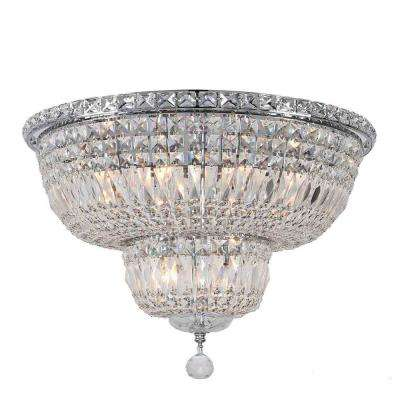Empire Collection 10-Light Chrome Clear Crystal Flush Mount