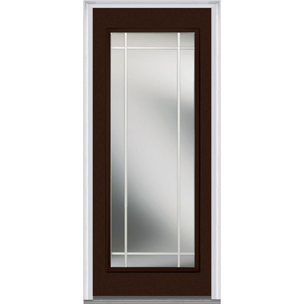 Mmi Door 36 In X 80 In Prairie Internal Muntins Right Hand Inswing Full Lite Clear Painted