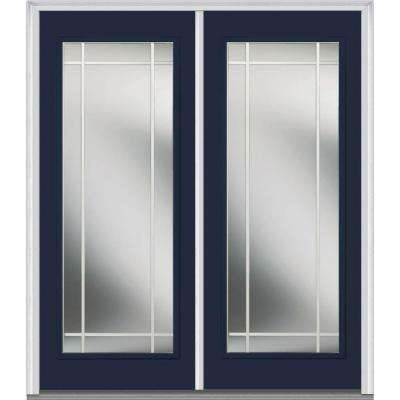 72 in. x 80 in. Prairie Internal Muntins Right-Hand Inswing Full Lite Clear Painted Fiberglass Smooth Prehung Front Door
