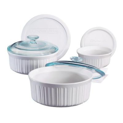French White 6-Piece Ceramic Bakeware Set