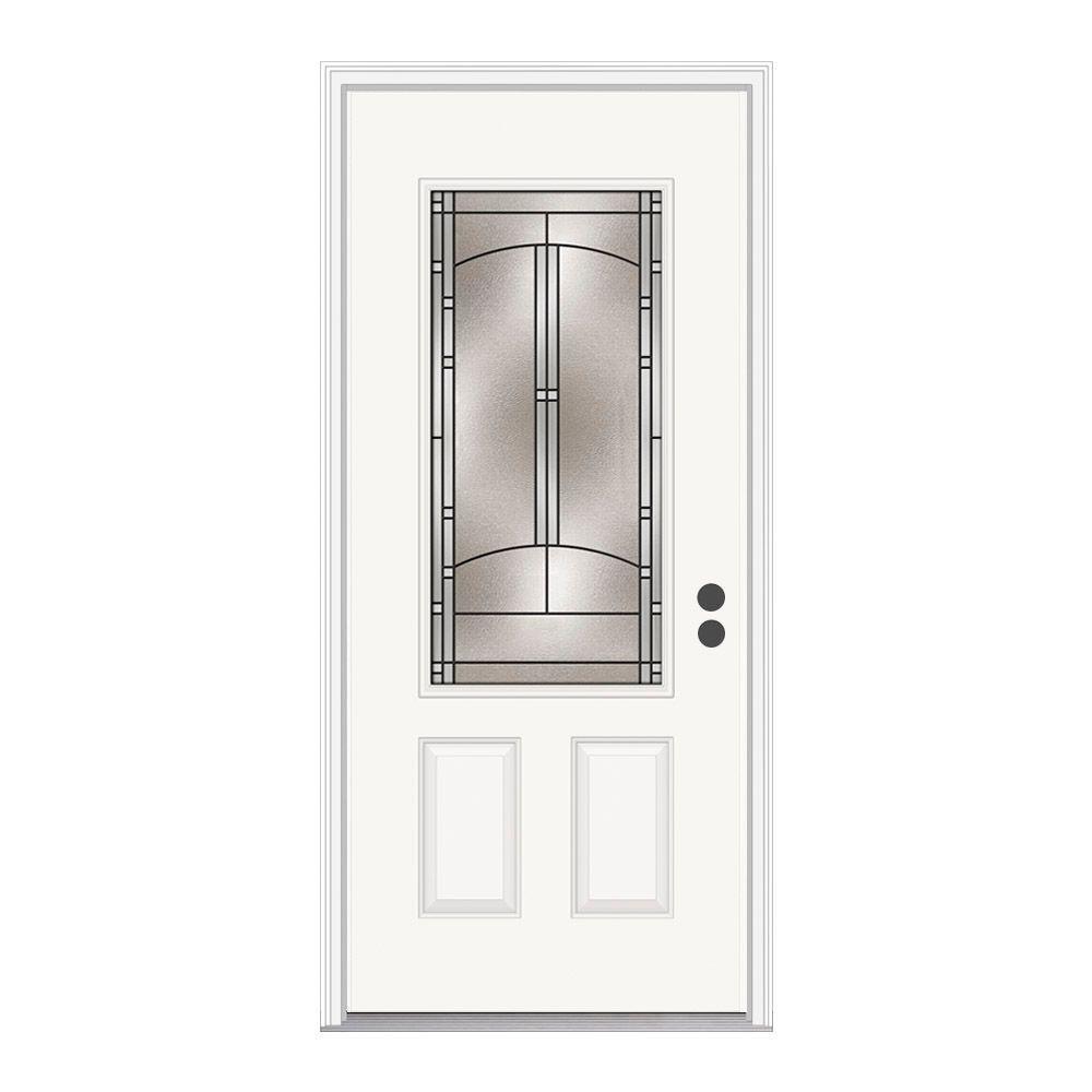 36 in. x 80 in. 3/4 Lite Idlewild Primed Steel Prehung Left-Hand Inswing Front Door w/Brickmould