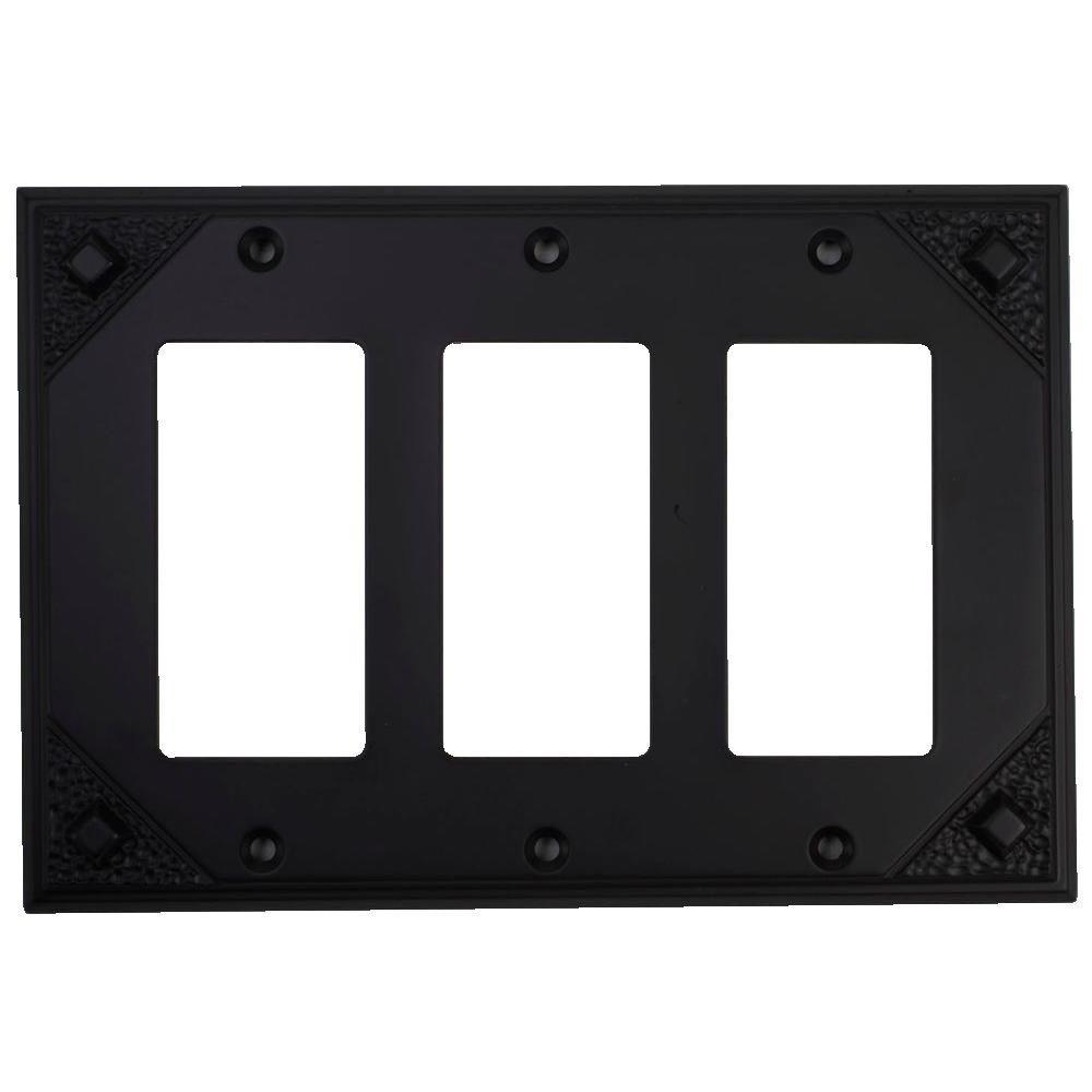 Atlas Homewares Craftsman 3 Rocker Switch Wall Plate -Aged Bronze