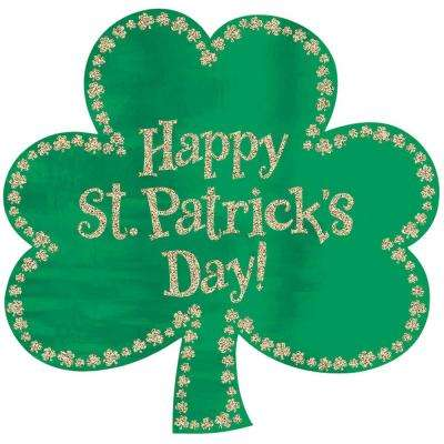 16 in. Happy St. Patrick's Day Green Paper Shamrock Cutout (7-Pack)