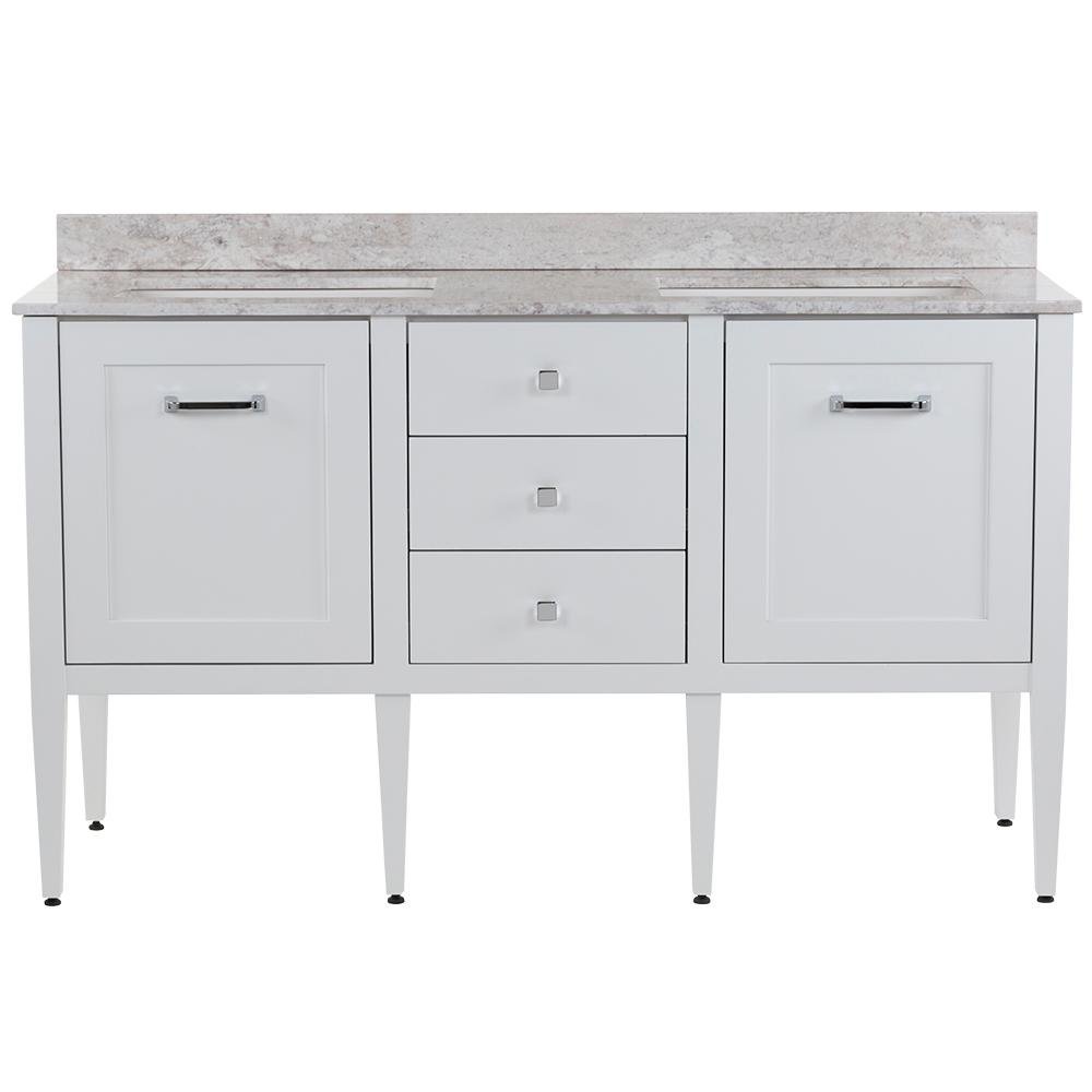MOEN Hensley 61 in. W x 22 in. D Bath Vanity in White with Stone Effects Vanity Top in Winter Mist with White Sinks