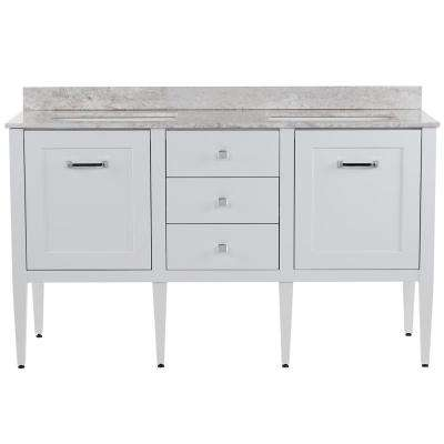 Hensley 61 in. W x 22 in. D Vanity in White with Stone Effects Vanity Top in Winter Mist with White Basins