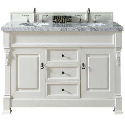 Brookfield 60 in. W Double Vanity in Cottage White with Marble Vanity Top in Carrara White with White Basin