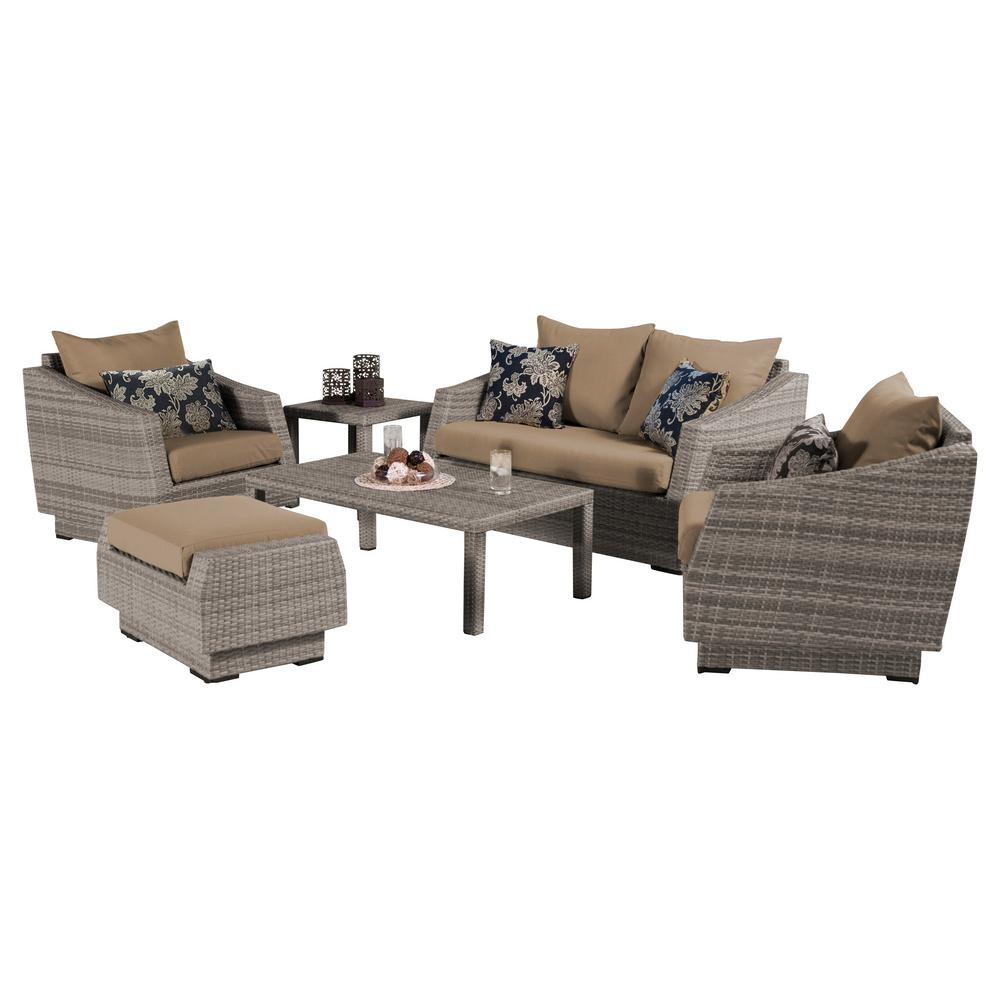 RST Brands Cannes 6-Piece Loveseat Patio Deep Seating Set with Delano Beige Cushions