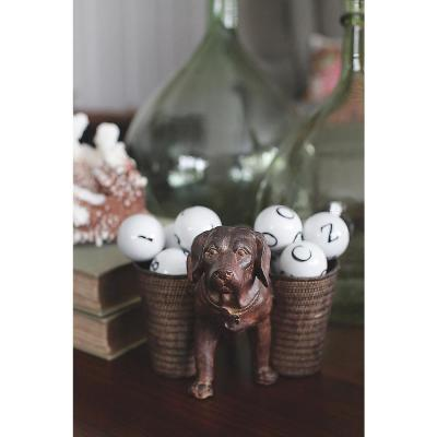 9 in. L Resin Dog with 2-Cups